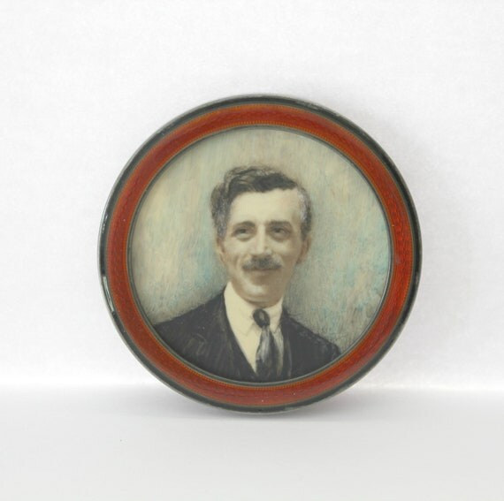 Antique Sterling Silver Enamel Round Mini Frame, English Hallmark, Handpainted Watercolor