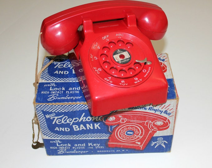 Vintage Brumberger Telephone Bank Toy with Key In Box, 1950s Child's Red Phone Safe