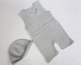 Knit Ramie Combi-Shorts and beanie Hat For Baby Girl - Summer Essential