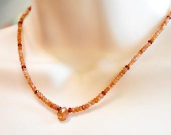 sunstone with garnet detail beaded choker necklace. sunstone teardrop focal choker necklace. garnet and sunstone necklace. sparkly sunstone