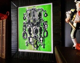 CAMEOS #046   fresh fun family portraits   bright green and black   fine art print (8x10)