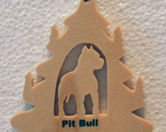 Pit bull Silhouette Ornament, Christmas Tree Ornament, Holiday Decoration, Pet Lover's Tree Decoration