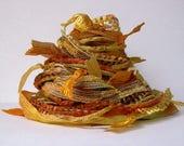 colonel mustard fiber effects™  art yarn bundle 12yds . ochre saffron gold yellow fiber art crafts mixed media ribbon novelty yarn pack