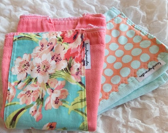 Baby burp cloth set - Floral bouquet aqua dots coral pink hand dyed burp cloth set