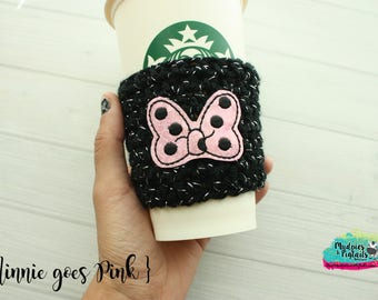 Mouse Ears Day Crochet Coffee Sleeve { Minnie goes Pink }  black, pink, bows cup cozy, knit mug sweater, starbucks gift, mug holder