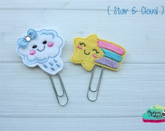 Planner Clip or hair clippies { Star & Cloud } rainbow, kawaii, rain spring easter, purple Paper Clips, Stationary, Bible journaling