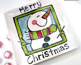 Handmade square serving tray with happy snowman and wording by Artzfolk