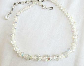 Vintage Aurora Borealis Crystal Graduated Beads Necklace