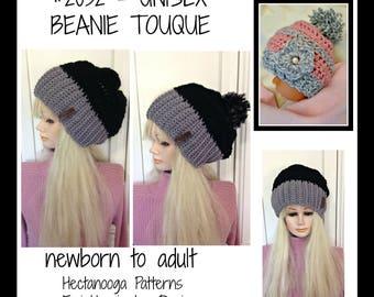 Crochet Pattern- Hat, hat crochet pattern, crochet hat pattern,  Unisex beanie touque hat, newborn to adult, all sizes, unisex, #2032