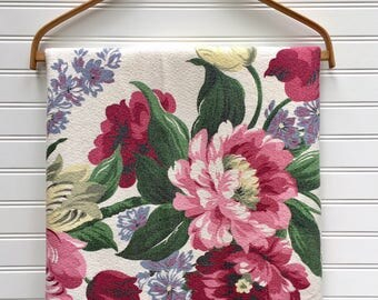 Vintage Floral Barkcloth Fabric, 1940s Cabbage Rose and Tulips, Markwood Fabric, Cottage Garden Fabric, Shabby Chic