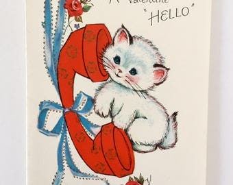 Precious Vintage 1950s Valentine Card with Kitten and Telephone, Red Roses, Red Phone, White Kitten, Blue Ribbon, NOS