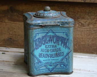 Vintage TOBACCO TIN- Graphic Blue Tin with Hinged Lid- Tobacciana Advertising Tin- Ready Rubbed- Larus & Bro. Co.