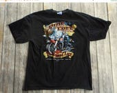 Christian Biker T Shirt Motorcycle Wings As Eagles Size Large Ride Free Black