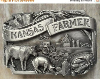 Kansas Farmer Belt Buckle 1984 Cow Pig Tractor Farm Vintage KS Siskiyou Limited Edition