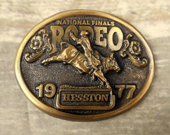 1977 NFR Belt Buckle Hesston National Finals Rodeo Bull Riding Vintage