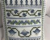 Pincushion, Needleminder - Finished Item - Cross Stitched Cornflower Sampler - Free Shipping