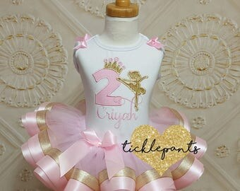 For all sizes and ages - Ballerina Birthday Outfit- Includes top and ribbon ruffled tutu - Pink and gold sparkle - Can be customized