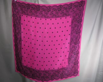 ECHO VINTAGE SILK Scarf, Deep Pink and Black Echo square ladies scarf,Vintage Echo Designer Ladies Scarf in Pink black, Echo silk scarf silk