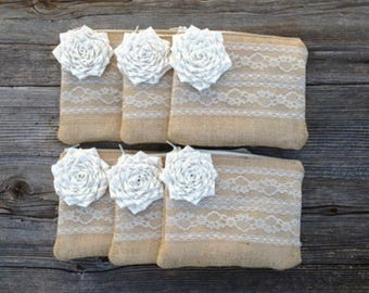 9 Bridesmaid Clutches, Burlap and Lace Wedding Purses, Burlap Bags, Maid of Honor Gift, Bridal Party Gifts, Rustic Wedding, Woodland Wedding