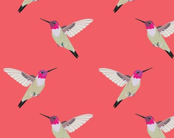Humming Bird Fabric - Humming Birds By Annaboo - Humming Bird Pink Coral Cotton Fabric By The Yard With Spoonflower