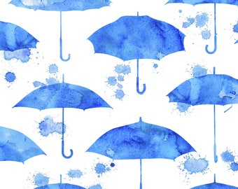 Umbrella Fabric - Rainy Day By Logan Spector - Umbrella Watercolor Blue Weather Sky Nursery Cotton Fabric By The Yard With Spoonflower