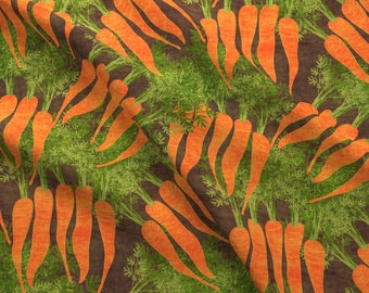 Earthy Carrots Fabric - Earthy Carrots By Kociara - Orange Summer Carrots Kitchen Decor Cotton Fabric By The Yard With Spoonflower