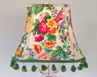 "Floral Lampshade, Vintage French Lamp Shade, Rectangle Cut Corner Bell, 7.5""t x 14""b x 10.5""h, Vintage Tassel Trim,  Beautiful Cabbage Roses"