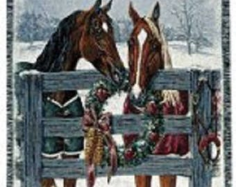 Woven Afghan HORSES by FENCE Winter Scene Cotton Throw Blanket made in USA