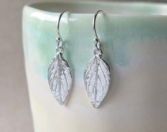 Oregano Leaf Earrings - Pure Silver Real Leaf, Botanical Jewelry, Herb Jewelry
