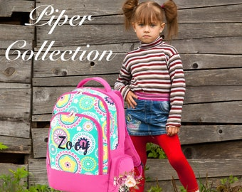 GIRLS personalized backpack , Back To School , kids backpack , lunch box,  monogrammed backpack , girls backpack, PIPER