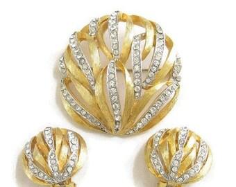 Kramer Clear Rhinestone Brooch & Earrings Set Domed Vintage