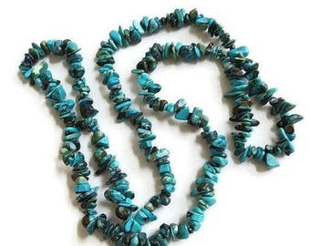 Blue Turquoise Nugget Necklace Vintage Long