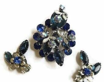 SALE Brooch and Earrings Set Blue and Aurora Borealis Rhinestone Vintage Layered Spray