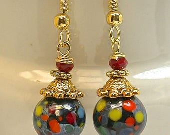 Vintage Japanese Millefiori Glass Bead Black Multicolored Dangle Earrings, Vintage Red Crystal Beads, Gold Plated Bead Caps,Gold Ear Wires