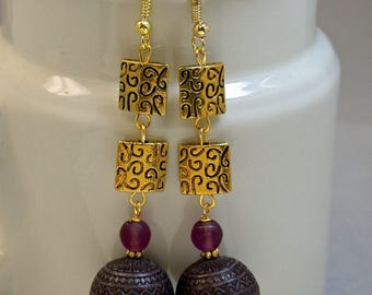 Vintage Japanese Purple Lucite Dangle Drop Bead Long Dangle Earrings, Gold Plated Ornate Square Medallion Beads -GIFT WRAPPED