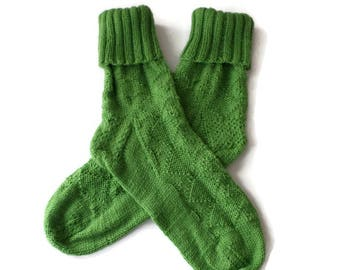 Socks - Women's Bright Green Diamond Patterned Socks - Casual Socks - Cuffed socks