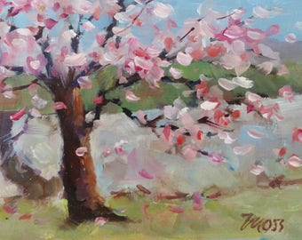 Tree, abstract, original, 4 X 6,  oil, Tree art, DROPPING BLOSSOMS, Brown tree, Pink Blossoms, cherry blossoms, fine art,  miniature art