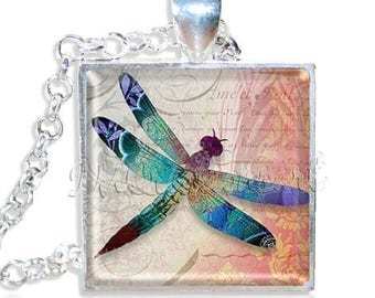 "20% OFF - Iridescent Dragonfly 1"" Square Glass Pendant or with Necklace - SQ167"