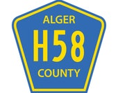 H58 Highway Sign Decal - Pictured Rocks - Munising, MI