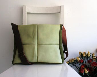 Lime Leather and Olive Green Canvas Messenger