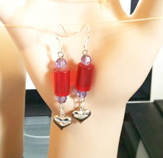 silver heart earrings long bead drop dangle beads red purple glass beaded handmade charm jewelry by Elizavella