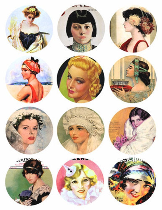 1920s advertisements womens faces flapper girls pinups 2.5 inch circles clip art collage sheet graphics images