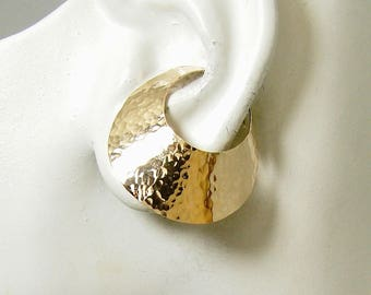 Ear Cuff Hammered Gold Non-pierced Cartilage Wrap Earring No Piercing Flying Saucer Flared Cuff Fake Conch Earring Faux Piercing EFSGFHM