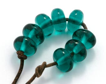 Transparent Teal Handmade Glass Lampwork Beads (8 count) by Pink Beach Studios - SRA (2062)