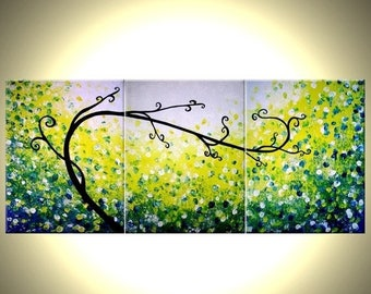ORIGINAL Green Tree, Abstract Blue Textured TREE, Green Landscape, Palette Knife Tree Painting, by Dan Lafferty - 24 X 54