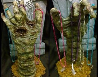 Zombie Hand Jewelry Necklace Ring Bracelet Holder - Undead Corpse Halloween Horror - Handmade Dark Art