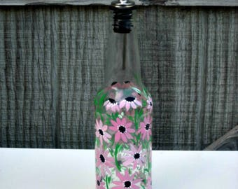 Dish Soap Dispenser,  Recycled Clear Glass Bottle, Painted Glass, Oil and Vinegar Bottle, Shades of Pink Flowers, Kitchen Decoration