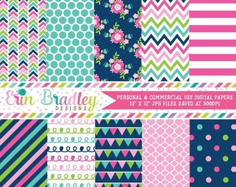 50% OFF SALE Digital Scrapbooking Paper Cheery Day Digital Paper Pack Polka Dots Flowers Doodle Chevron Patterns