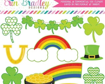 50% OFF SALE St. Patricks Day Clipart, Shamrock Clip Art, Commercial Use Holiday Clipart, Pot of Gold & Rainbow Clip Art