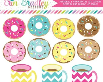 80% OFF SALE Coffee and Donuts Clipart Clip Art Personal & Commercial Use Instant Download